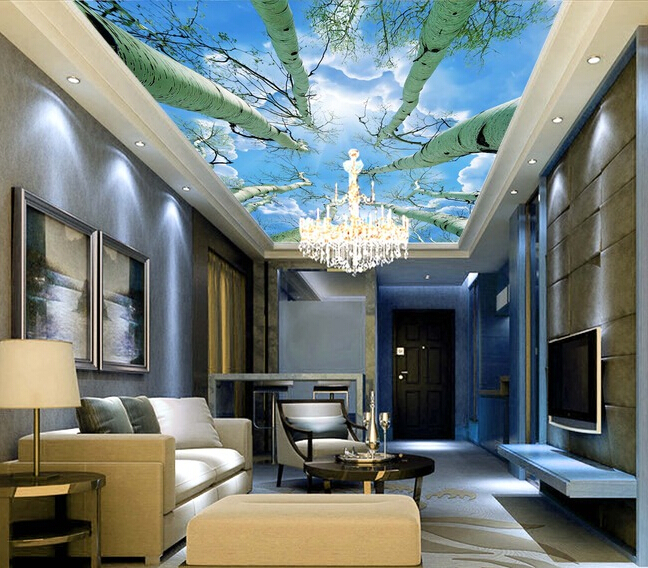 Custom sky wallpaper , the sky under the big tree murals for the living room bedroom ceiling wall waterproof PVC papel de parede custom ceiling murals wallpaper virgin maria and angel for the living room bedroom wall waterproof pvc papel de parede