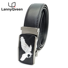 LannyQveen New Eagle Design Men s Automatic buckle belt 100 Genuine Leather Belts for men high