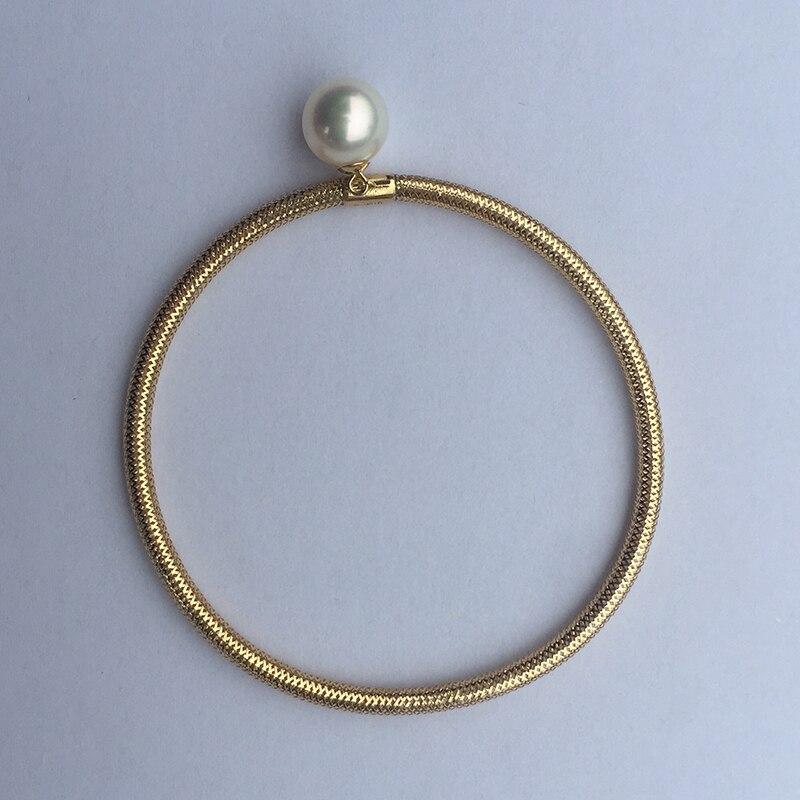 Sinya Natural pearls 18k AU750 gold elastic Bangles bracelet for girls lover women length about 15.7cm pearl diameter 8-9cm Sinya Natural pearls 18k AU750 gold elastic Bangles bracelet for girls lover women length about 15.7cm pearl diameter 8-9cm