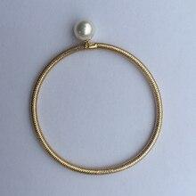 Sinya Natural pearls 18k AU750 gold elastic Bangles bracelet