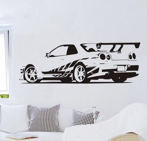 D368 GTR Skyline Sport Racing Masina Removable Wall Stickers Decals - Decoratiune interioara