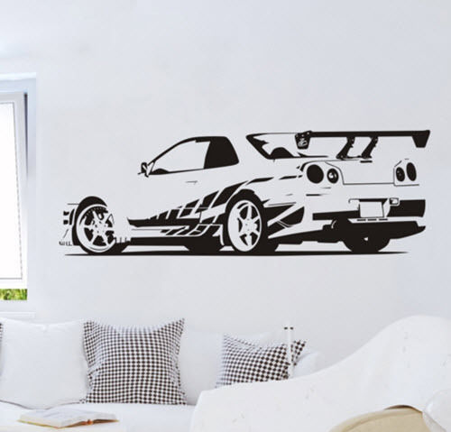D368 GTR Skyline Sports Racing Car Removable Wall Stickers Vinyl Decals  Home Decor