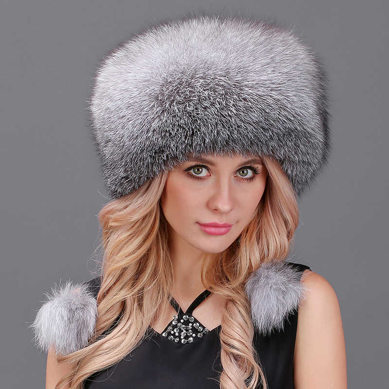 5fafb2e2c97 Women s Cap Winter Hats Real Fox Fur Pompom Hats Female Beanies Hat Natural  Raccoon Fur Knitted