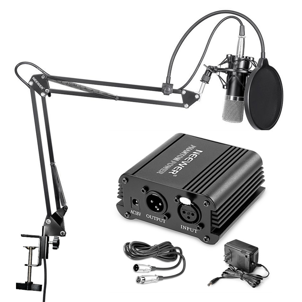 Neewer NW-700 Microphone&NW-35 Arm Stand+XLR Cable and Mounting Clamp&NW-3 Pop Filter&48V Phantom Power Kit neewer nw 700 condenser microphone