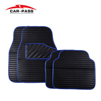 Car Pass Pvc Leather Car Floor Mats Universal Waterproof Black Red Blue Driver Passenger Seat Ridged