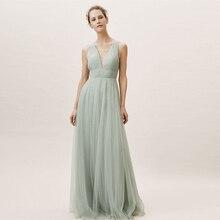 Verngo Green Tull Bridesmaid Dresses Backless Dress Elegant Wedding Party Vestidos Fiesta Boda Sukienka Wesele