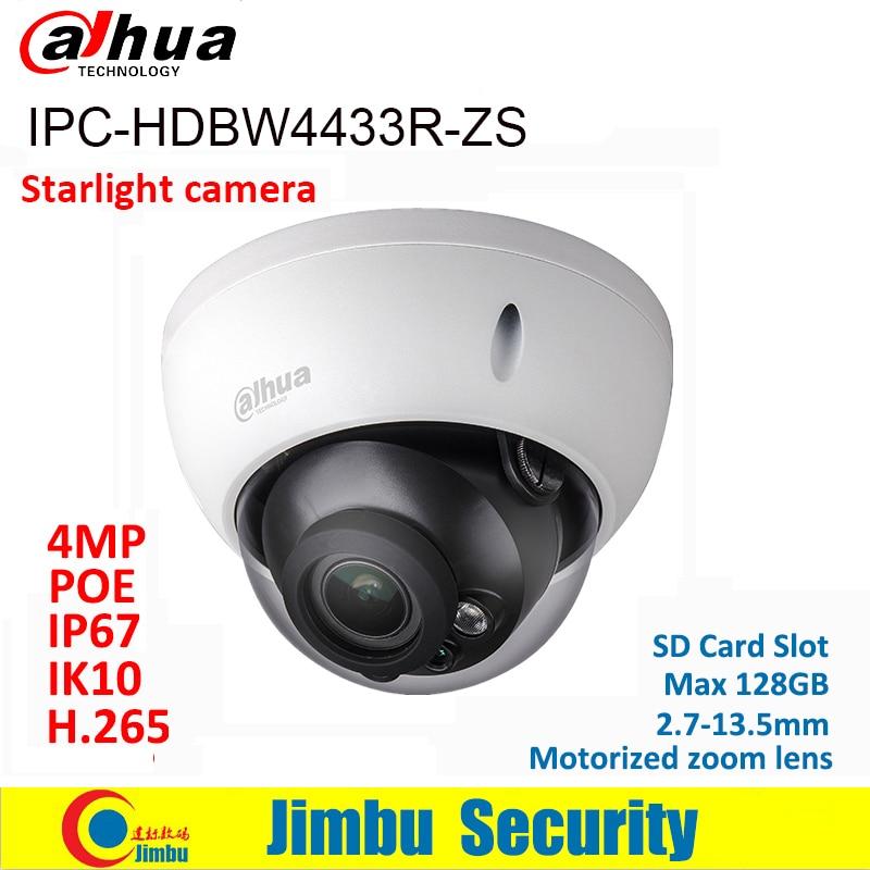 Dahua IP Camera 4MP POE IPC-HDBW4433R-ZS starlight 2.7mm ~13.5mm motorized lens SD Card slot IR50M replace IPC-HDBW4431R-ZS IVS dahua ip camera poe 4mp ipc hdbw4433r zs starlight 2 7mm 13 5mm motorized lens h2 65 ir50m sd card slot ip67 ik10