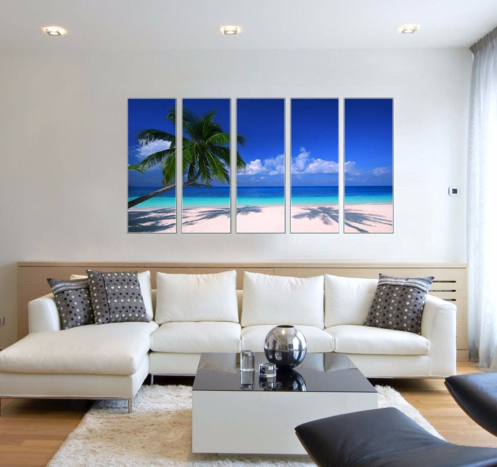 Tropical Beach Painiting Print On Canvas Seascape Wave Framed And Ready To Hang Home Office Decor 5 Panel Ocean Wall Art In Painting Calligraphy From