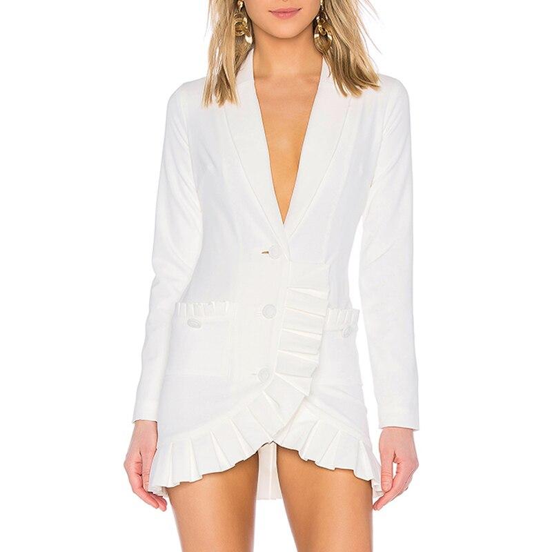 Del Mini Beateen V Tasche A Manica Modo Bianco 2018 Increspature Germoglio Vestito Lunga Dolce Di Con Scollo Sexy 1qTEaqrw