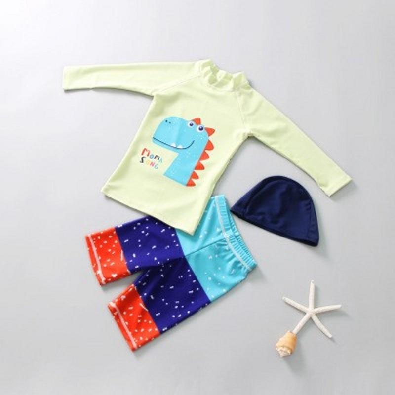 New Korea Style Rashguard SharK Swimwear Children Anti-UV Swimming Surf Beach Bathing Suit Dinosaur Long Sleeve Tops Surf  S