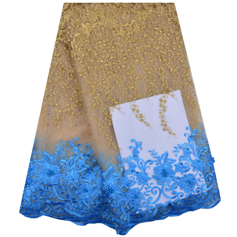 2018 Latest Style Stones African Tulle French Lace Fabric Cheap Price Nigerian Wedding Lace Free Shipping