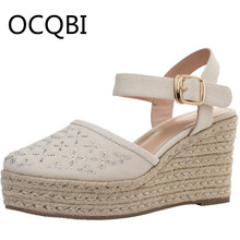 цена на Classic Espadrille Wedge Sandals Summer Parties Shoes Elevated Wedge Closed Toe Sandals Street Shoes Sz 33 - 40 Women Shoes