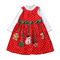 Girls New Year Christmas Dress Winter Polka Dot Snow Man Kids Clothes Cotton Children Clothing Christmas Party Costume