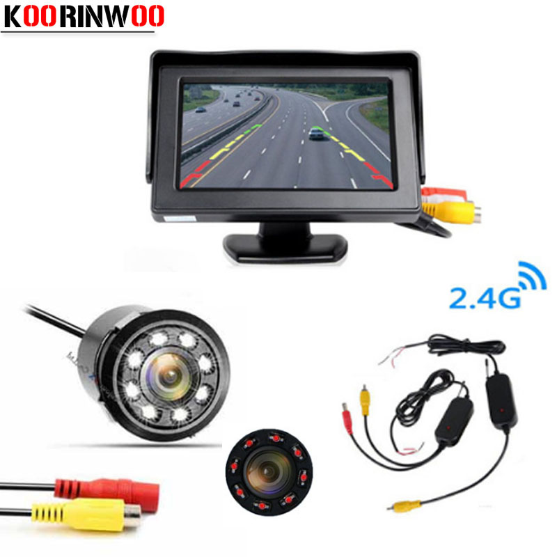 Koorinwoo 2,4g Wireless 4,3 Auto Monitor Video System Auto Rückansicht Kamera Rückfahr Display RCA Eingang blind Sicher ZURÜCK UP Unterstützen