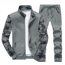 New Spring Camouflage Tracksuit Mens Set Sportswear 2 Piece Sporting Suit Jacket+pant Plus Size 4XL Men Clothes Track