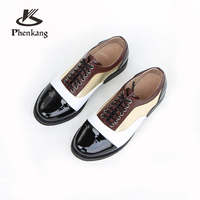 Genuine cow leather brogue casual designer vintage lady flats shoes handmade oxford shoes for women black brown with fur