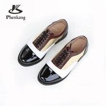 d7a8abfb7 Genuíno couro de vaca sapatos oxford brogue designer casual senhora apartamentos  sapatos feitos à mão do vintage para as mulhere.