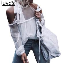Sexy Off Shoulder Halt Bow Blusas Tops t shirts Women Ladies Casual Long Sleeve Summer Tops See Through White Chiffon Blous