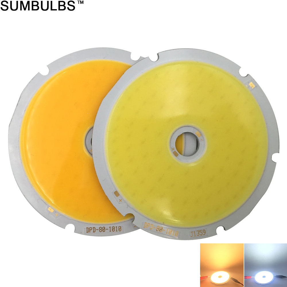 Sumbulbs 80mm Diameter Round COB LED 50W Chip On Board Light Source For DIY LED Map Bulb Warm Cool White DC 30-33V Super Bright