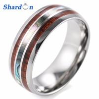 SHARDONผู้ชาย8มิลลิเมตรไทเทเนียมแหวนแต่งงานกับคู่ไม้และมุก