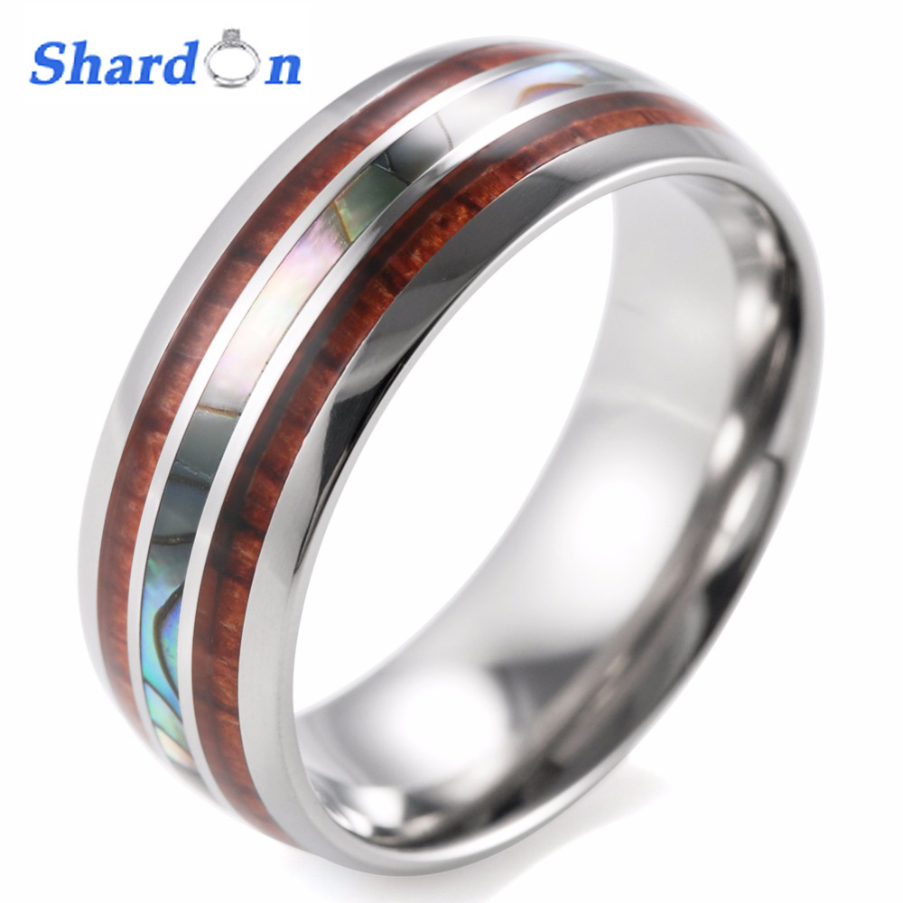 SHARDON Men's 8mm Titanium Wedding Ring With Double Wood & Pearl Shell Inlay Men's Ring size 8-13 for free shipping free shipping usa hot selling unique 7mm titanium ring wedding band with resin inlay and 3 stone cz sizes 8 to 13