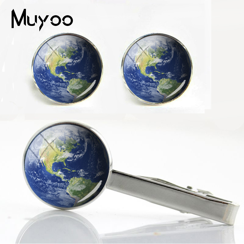 Cufflinks World-Map Gifts Silver Glass Cabochon Men for Men's New-Fashion