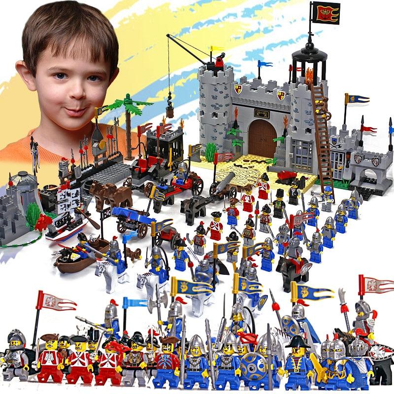 Просветите замок образовательные строительные блоки игрушки для детей дети подарки 32 герой рыцарь лодка стрелка оружие оружие пистолет