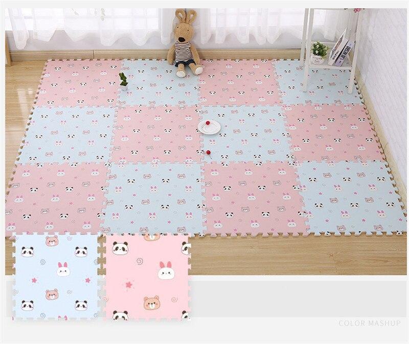 HTB1D9SvavWG3KVjSZFgq6zTspXa1 EVA Foam Children's Mat Split Joint Baby Play Mat Puzzle Cartoon Panda Patterns Soft Floor Carpet For Baby Crawling Exercise