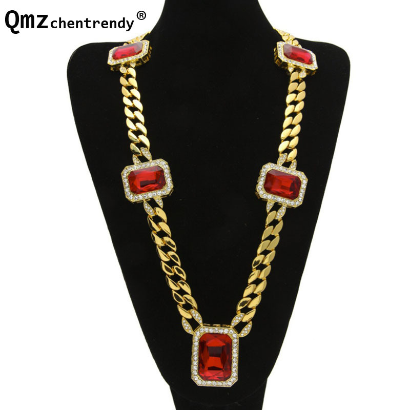 Exaggerated Cuban Chain With Big Red CZ Stone Crystals Link Necklace Hip Hop Bling Iced Out