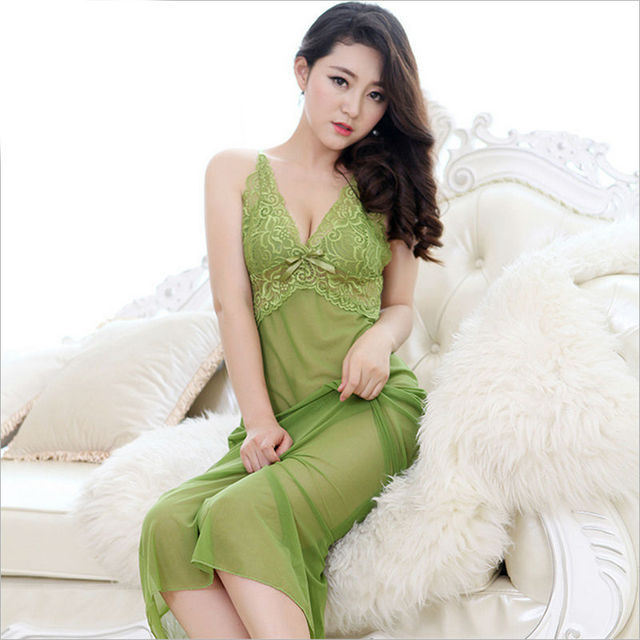 2017 New Factory outlets High-grade thin silk women sexy nightgowns hollow out Lace temptation Long skirt Sexy underwear