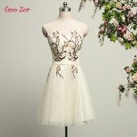 TaooZor Simple Embroidery Flowers A line Satin Bridesmaid Dresses 2017 Knee Length Sleeveless Vestido Curto Ribbons Belt