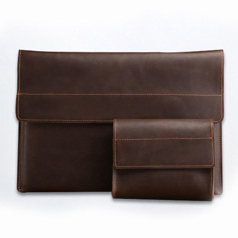 Étuis en cuir véritable pour ordinateur pour Ipad 11.6 13 15 pouces pochette sac pochette d'ordinateur couverture souple TPU pour Macbook Coque Funda