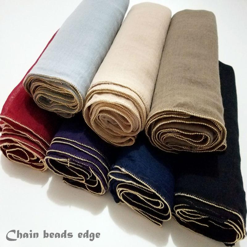 Women gold chain scarf ball borders shawl plain maxi hijab muslim solid scarfs headbands fashion arab