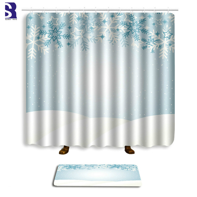 Sunnyrain 2 Piece Snowflake Christmas Printed Shower Curtain Set Bathroom Water Resistant For