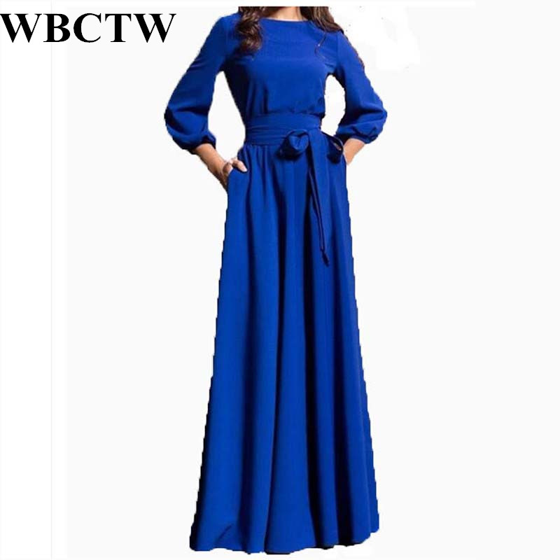 WBCTW Plus Size Dress Modest Three Quarter Sleeve High Waist Outfit Solid Elegant Maxi Long Woman Dress Slim Spring Party Dress