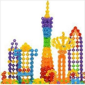 100PCs New Arrival Multicolor Kids Snowflake Building  Blocks Educational Xmas Toys Bricks DIY Assembling Classic Toy