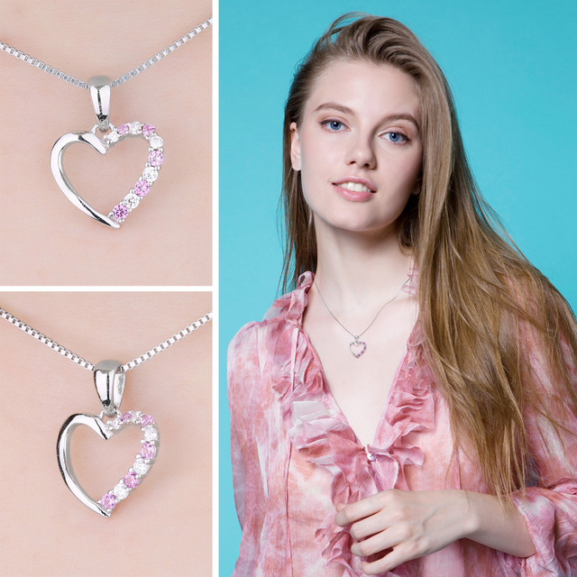 Pink Sapphire Heart Pendant