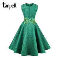 Tanpell Short Homecoming Dress Green O Neck Sleeveless Knee Length A Line Gown New Floral Embroidery