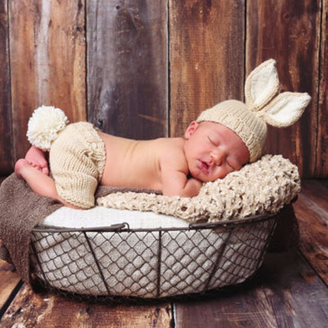 Bebé recién nacido Niño conejo traje de punto de ganchillo trajes ...