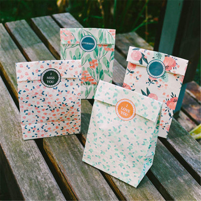 New 4pcs/Set Flowers Craft Paper Candy Food Gift Bags With Sticker  23*13*18cm  Best Gift Bag For Christmas Wedding Party Favors
