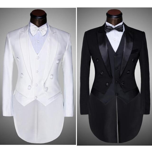 (Chaqueta + Pantalones + Chaleco + pajarita) 2017 Hombres de La Moda Trajes de Frac Tuxedo Prom Novio de La Boda Blanco Negro Slim Fit Cantante Masculino