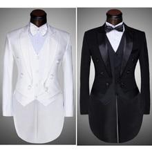 ( Jacket + Pants + Vest + Bow tie ) 2017 Fashion Men Suits Tailcoat Tuxedo Prom Groom Wedding White Black Slim Fit Male Singer