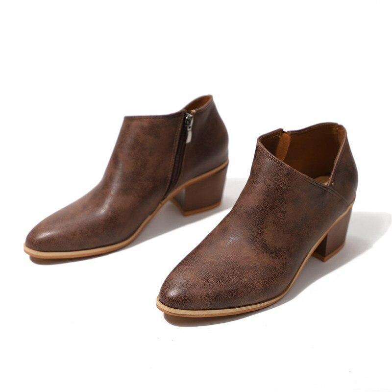 Martin Blue Otoño Cuero 43 Mujer Zapatos Talla Sólido Grande Puntiaguda Brown 35 Tobillo Punta light De khaki Botas Cremallera Cortas wqxp8q
