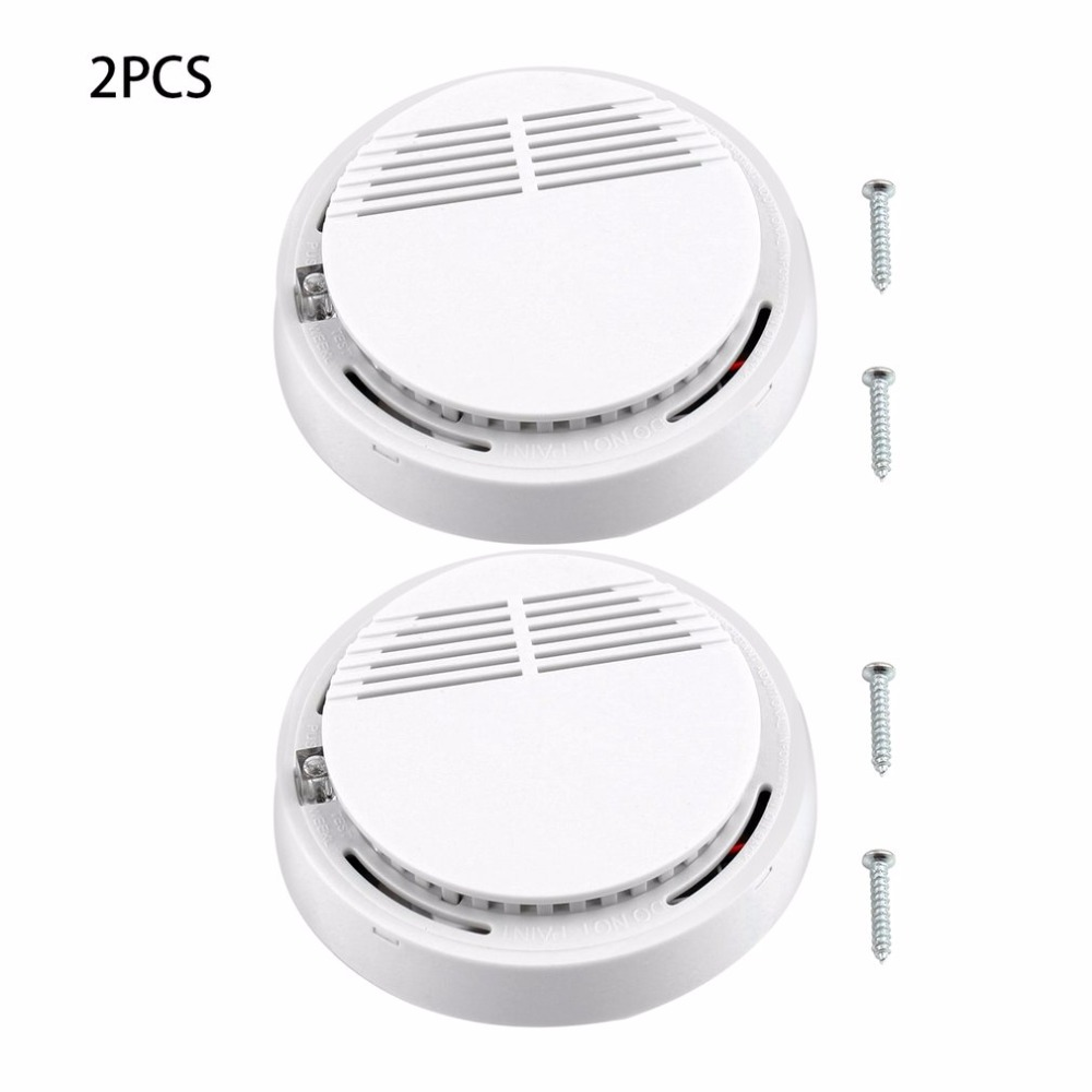 2Pcs Sensor Sensitive Photoelectric Home Independent Alarm Smoke Detector Fire Alarm Alone Sensor For Family Guard
