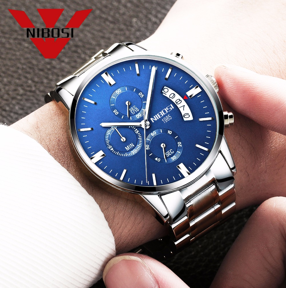 Relojes de hombre NIBOSI Relogio Masculino, relojes de pulsera de cuarzo de estilo informal de marca famosa de lujo para hombre, relojes de pulsera Saat 27