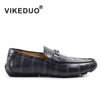 VIKEDUO Mens Doug Shoes DDEY 001 Alligator Cowhide Shoes 100 Genuine Leather Shoes Hand Painted Shoes