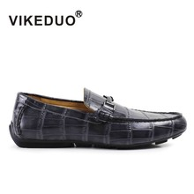 VIKEDUO Brand Fashion Vintage Classic Handmade Men Shoes Moccasin Gommino Casual Flat Alligator Top Cow Leather Hand Painted