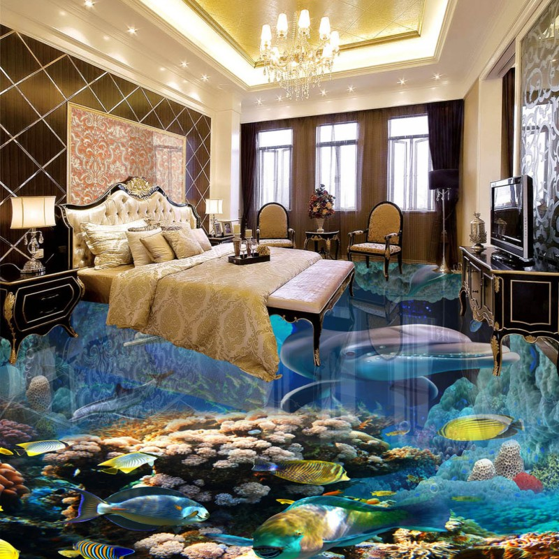 Free shipping custom flooring bathroom living room wallpaper thickened waterproof mural Dolphin Underwater World 3D Floor