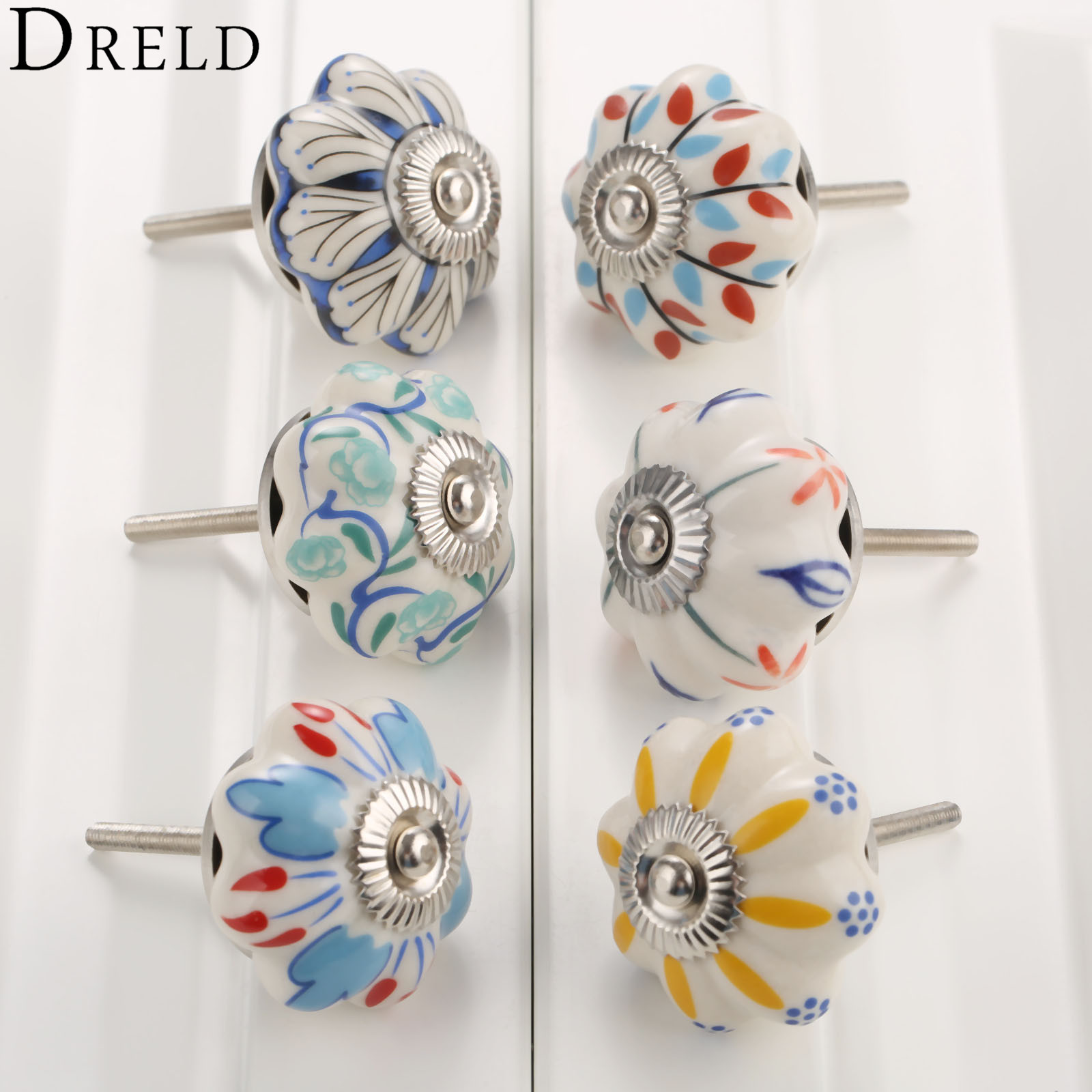 DRELD 40mm Furniture Handle Ceramic Drawer Cabinet Knobs and Handles Knobs Door Cupboard Kitchen Pull Handles Furniture Hardware retro vintage kitchen drawer cabinet door flower handle furniture knobs hardware cupboard antique metal shell pull handles 1pc