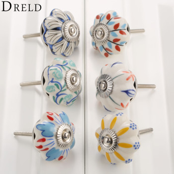 DRELD 40mm Furniture Handle Ceramic Drawer Cabinet Knobs and Handles Knobs Door Cupboard Kitchen Pull Handles Furniture Hardware цена 2017